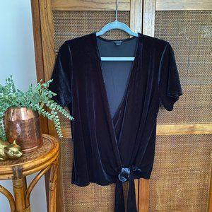 Ann Taylor • Petite • Velvet Wrap Tie Blouse • L P